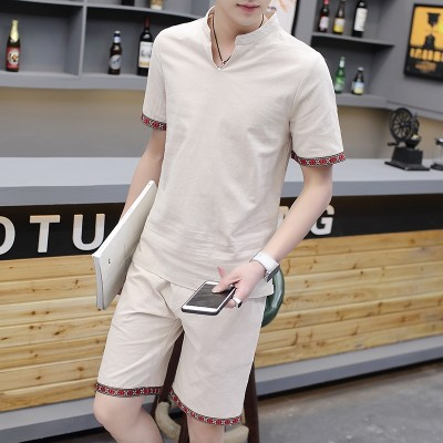 Summer cotton suit men short sleeved t-shirt men V collar leisure sports two piece China wind linen