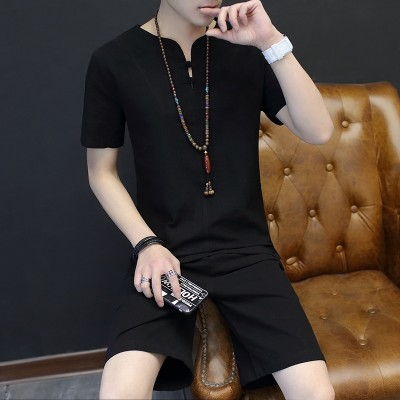 Men's shorts suit, summer cotton casual pants, five point pants, men's Korean style, trend of summer beach pants