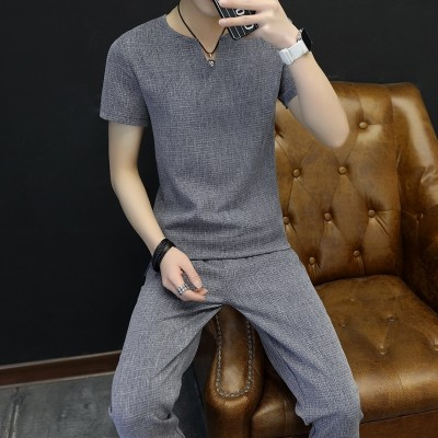 V neck short sleeve T-shirt male summer thin pants nine solid summer casual sportswear men's dress tide