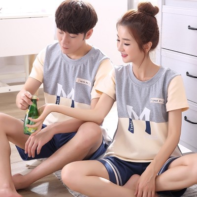 Summer lovers pajamas, cotton short sleeve Korean version, summer pajamas, men's Ladies cute, cotton thin, home wear suit