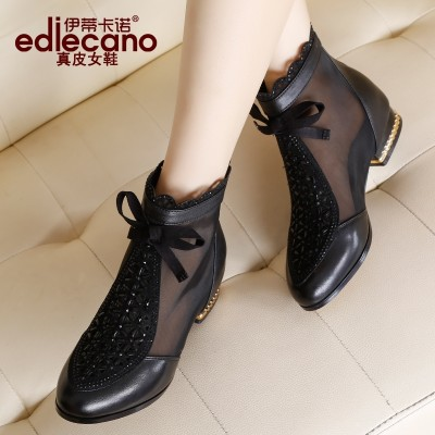 The new spring and summer leather boots with low net diamond mesh breathable shoes women's sandal boots Flat Boots