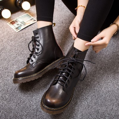 Spring and autumn British wind, lovers short boots, high help Martin boots, female summer students, single boots, retro boots, Leather Flat Boots