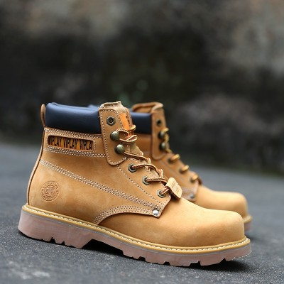 The summer male leather boots boots boots Martin yellow frock boots boots Korean desert boots shoes boots rhubarb