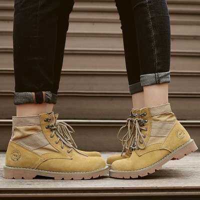 Luo Yuxi, summer leather, English wind, Martin boots, men's boots, short boots, trend gear, high boots, desert couple boots