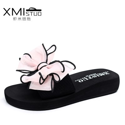 The summer all-match bow female slippers word drag flat beach slippers slip female wear casual shoes Beach