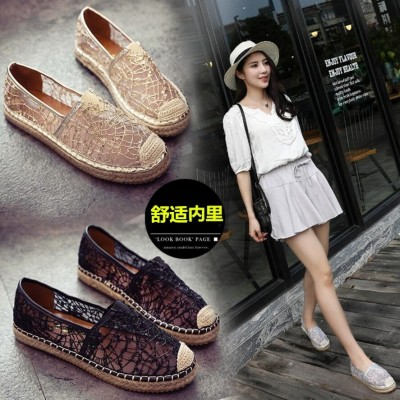 Spring Summer Edition, flat bottom fisherman's shoes, female lace net surface, round head, hollow happiness shoes, women's retro shoes, shallow mouth