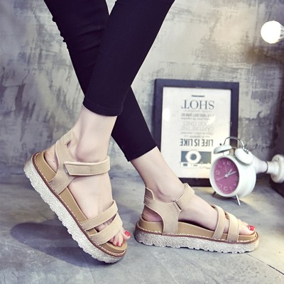 In the summer of  South Korean new Rome shoes soled sandals all-match simple muffin Korean female student flats
