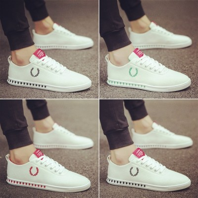 The summer male shoes men's canvas shoes casual shoes trend of Korean white shoe lovers summer breathable white shoes