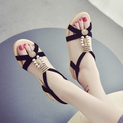 Wedge heeled sandals, women's summer flat students, Korean version , new Bohemia diamond, Heel Toe Shoes