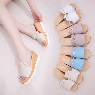 Korean female slippers sandals shoes a summer outdoor fashion slippers muffin slope with thick bottom female