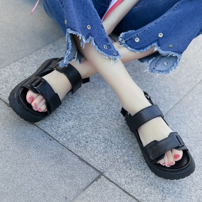 Korean children summer sandals Velcro black muffin with  new students all-match flat thick bottom tide