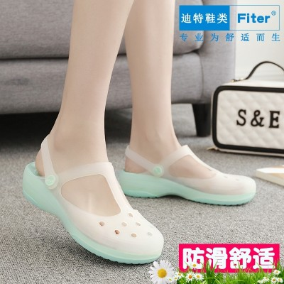 FITER hole shoes, female summer beach shoes, women sandals, Maryja color change slope, heel sandals, antiskid thick bottom jelly shoes