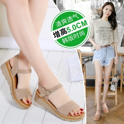 new summer all-match slope with the flat sandals shoes in students with fashion and thick leather women.