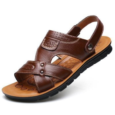 new summer men's leather cool slippers, beach shoes, earth tide leisure, Korean shoes, sandals, men
