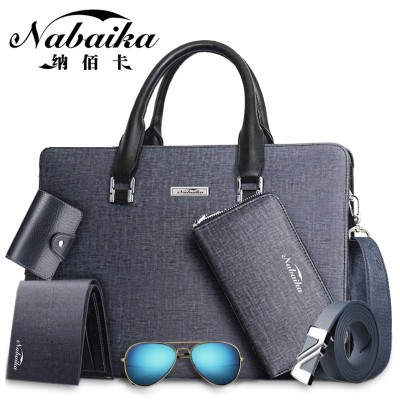 Bai Na card bag boutique male Briefcase Bag Handbag men cross casual men's leather bag computer bag