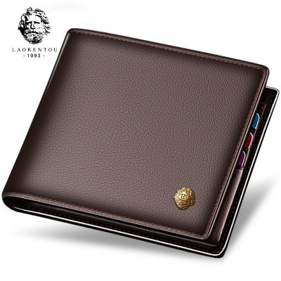 LAORENTOU male short leather wallet cross section leather zipper wallet wallet business men's youth