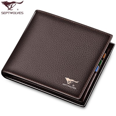 Septwolves purse men short leather first layer of leather cross section business men bag wallet wallet tide