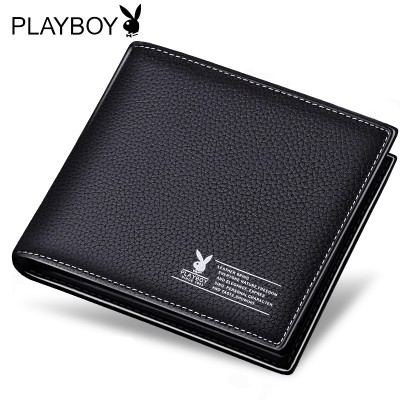 Playboy wallet, men's short, leather, student, youth, male, leather, driver's license, little money, clip tide