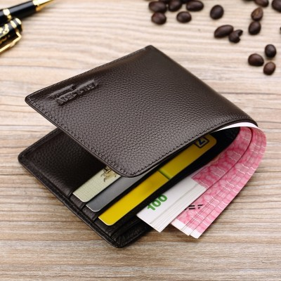 Male short thin leather purse money chuck cowhide young South Korea students cross section soft tide clip