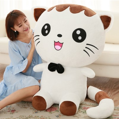 Cat toy girl's big face cat is a baby doll girl's birthday present