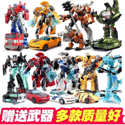 Transformers 5 bumblebee police car dinosaur transformed into car robot model boy 4