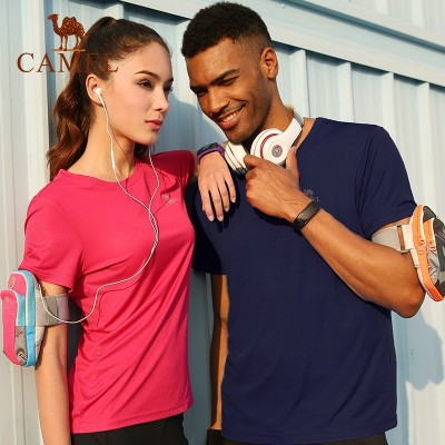 Camel outdoor short sleeved T-shirt, men and women summer sweat, breathable, round neck exercise, speed drying clothes