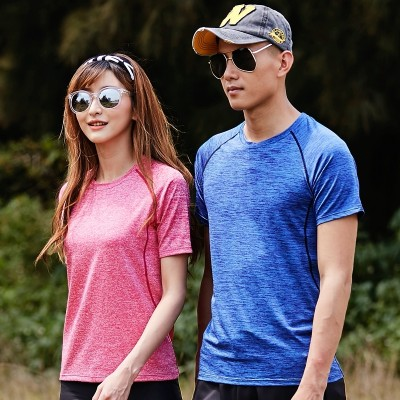 Outdoor men's speed drying T-shirt, female lovers short sleeved sweater, fitness running clothes, summer elastic quick drying clothes