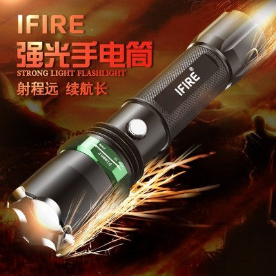 Flashlight, bright charge, super bright waterproof, 5000 small mini LED searchlight, can be used for outdoor self-defense, long-range