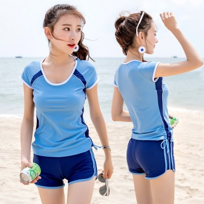 Yu g swimsuit lady split cover belly thin boxer conservative sport students code hot swimwear