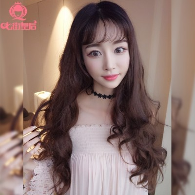 Seven street queen wig, female long curly hair, big waves, fluffy, natural lifelike, pear flower head U, half head, long straight hair