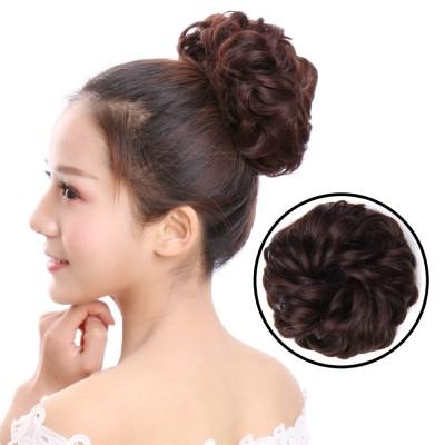 The rubber band ring lifelike Wig Hair Flower Bud ball female headdress flower fluffy hair big hair ring
