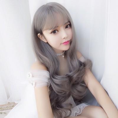 Wig, long hair, round face, pear head, Korean Air bangs, fluffy, natural and realistic, long hair, big wave, headgear