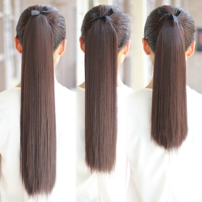 Seven straight long hair wig ponytail ladies bandage vivid fake Ponytail Hair length ponytail wig piece
