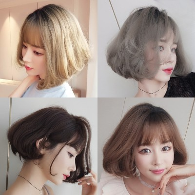 Female hair wig Bobo head short coil in the air thin bangs handsome garnishment repair face natural fluffy hair cover