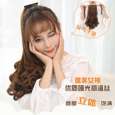 A big wave of long hair wig wig ponytail bandage type pear roll in the long section of realistic short ponytail