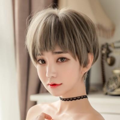 Is the dog hair two dimensional female hair natural fluffy bangs wig headgear grandma grey Bobo