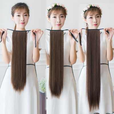 Long, long straight hair wig ponytail Girl Wig tail simulation hair tied type false ponytail wig piece vivid