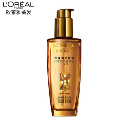 L'OREAL hair, hair care, essential oils, curls, small gold bottles, hot dye damage, repair, dry hair, 100ml