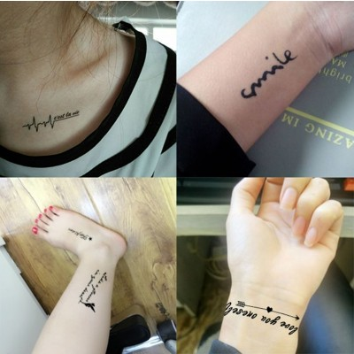 Tattoo stickers, men and women waterproof, lasting personality, English small fresh tattoo stickers