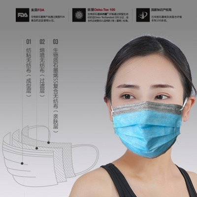 50 Biomass Graphene Disposable Meltblown Cloth Masks
