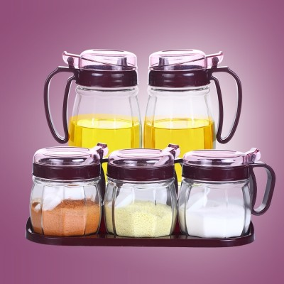 Kitchen glass sauce seasoning pot seasoning box and pot seasoning bottle into household seasoning box set