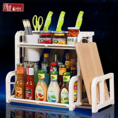 Kitchen shelves, spices, seasonings, appliances, household storage, knife rack, floor storage, chopsticks, double deck, 2 kitchen utensils