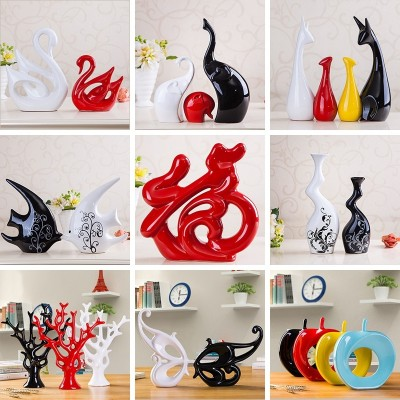 Creative modern living room decorative ceramic wine Home Furnishing jewelry crafts decoration wedding gift Swan decoration