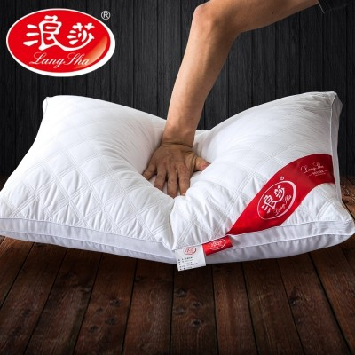 Langsha five star hotel pillows pillow cotton velvet feather of single adult students to shoot 2 cervical vertebra protective pillow