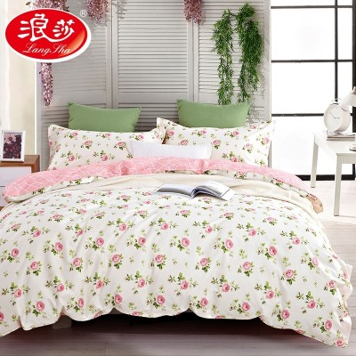 Langsha cotton four set summer cotton bedding bedding 1.8m Princess wind double 1.5 meters