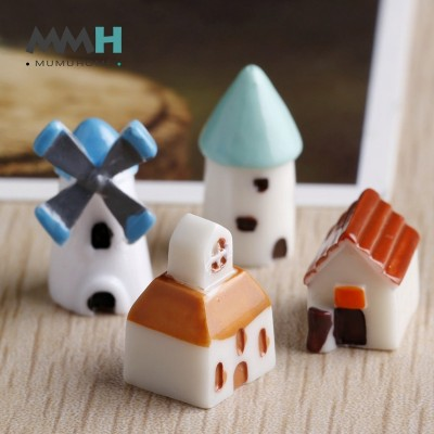 MuMuHome small house decoration decoration potted succulents windmill flowerpot moss micro landscape Castle