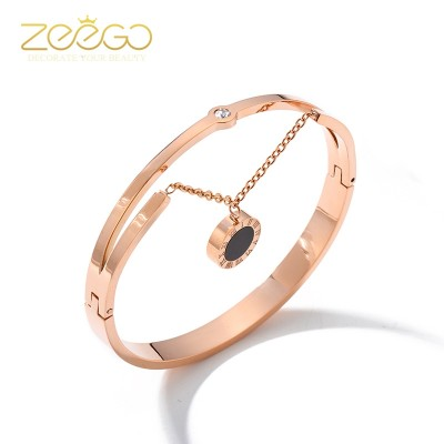 Japan and South Korea are plated 18K rose gold bracelet all-match Rome digital double female simple bracelet Jewelry