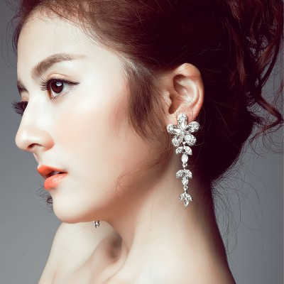 The bride clip earrings no long Korean Wedding Jewelry Earrings Pierced Earrings
