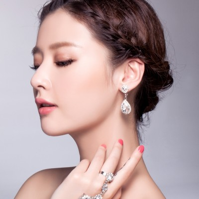 No ear clip earrings pierced earrings bride wedding jewelry earrings earrings Korean White Rhinestone Jewelry Accessories