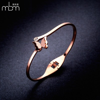 18K Rose Gold Plated Diamond Bracelet all-match matte butterfly Korean fashion jewelry gift opening female